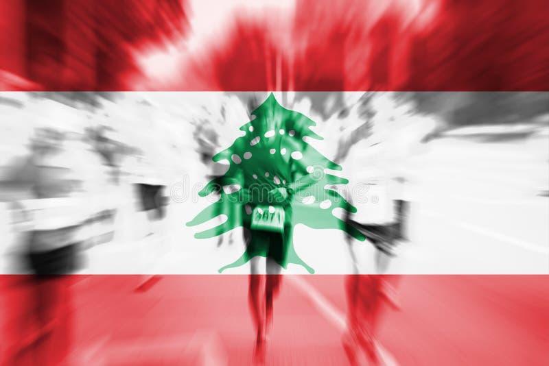 Falta de definición de movimiento del corredor de maratón con la mezcla de la bandera de Líbano libre illustration