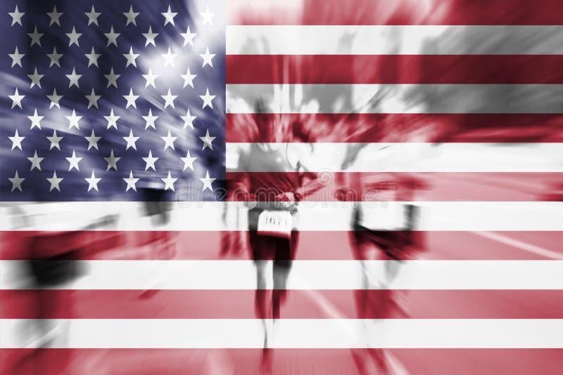 Falta de definición de movimiento del corredor de maratón con la mezcla de la bandera de los E.E.U.U. libre illustration