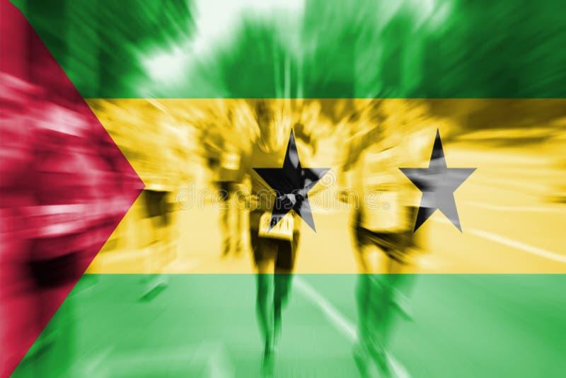 Falta de definición de movimiento del corredor de maratón con la mezcla de Sao Tome y de Principe f stock de ilustración