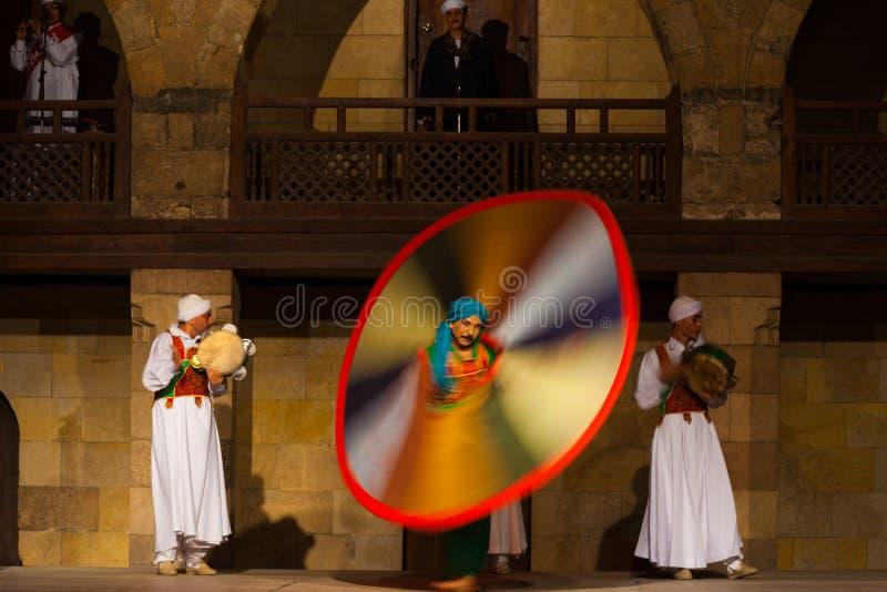 Falta de definición de movimiento egipcia del baile de Sufi colorida fotografía de archivo libre de regalías