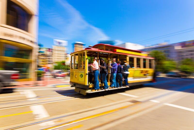 Falta de definición de movimiento San Francisco Cable Car Union Square fotografía de archivo