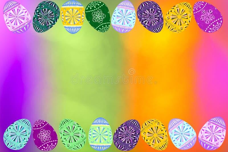 Falta de definición púrpura rosada de la luz del verde y del oro con el papel pintado digital del fondo de los huevos de Pascua stock de ilustración