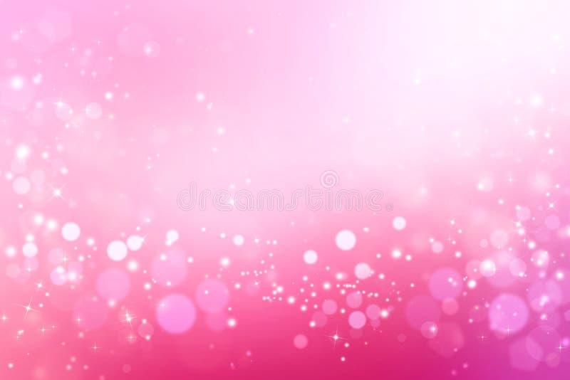 Falta de definición rosada abstracta del fondo del bokeh Ejemplo festivo brillante ilustración del vector