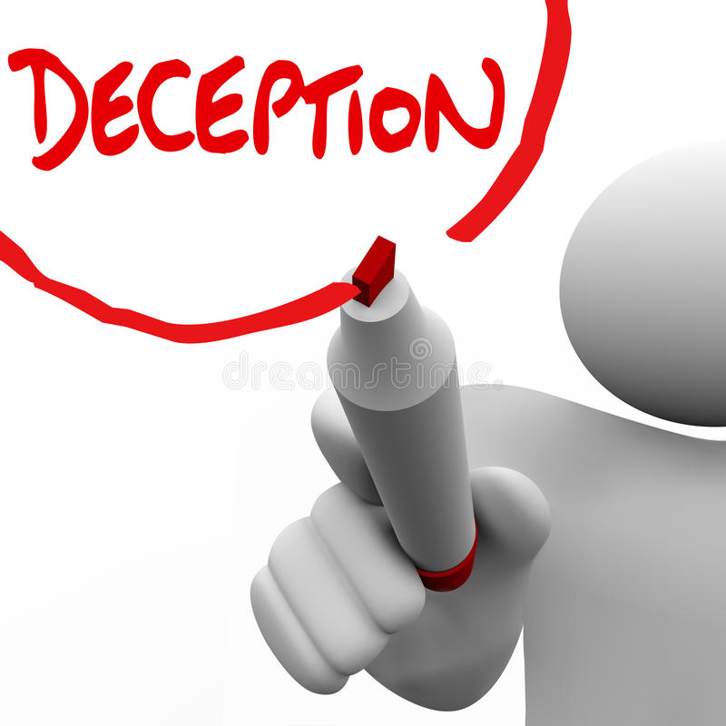 Falta de sinceridad de mentira de la deshonestidad de la palabra de la escritura del hombre del engaño stock de ilustración