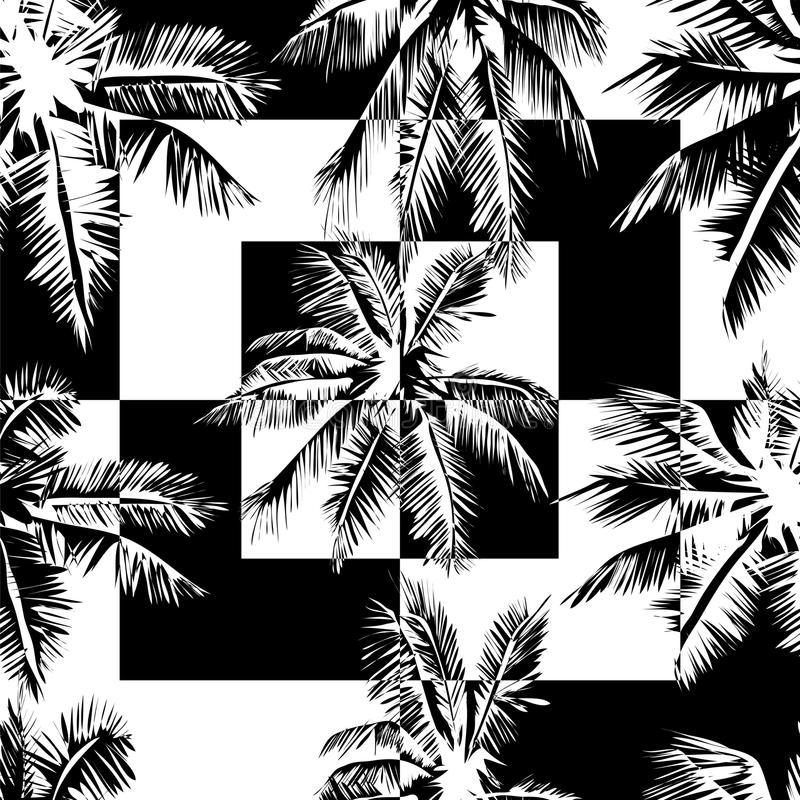 Falta tropical e teste padrão branco ilustração do vetor