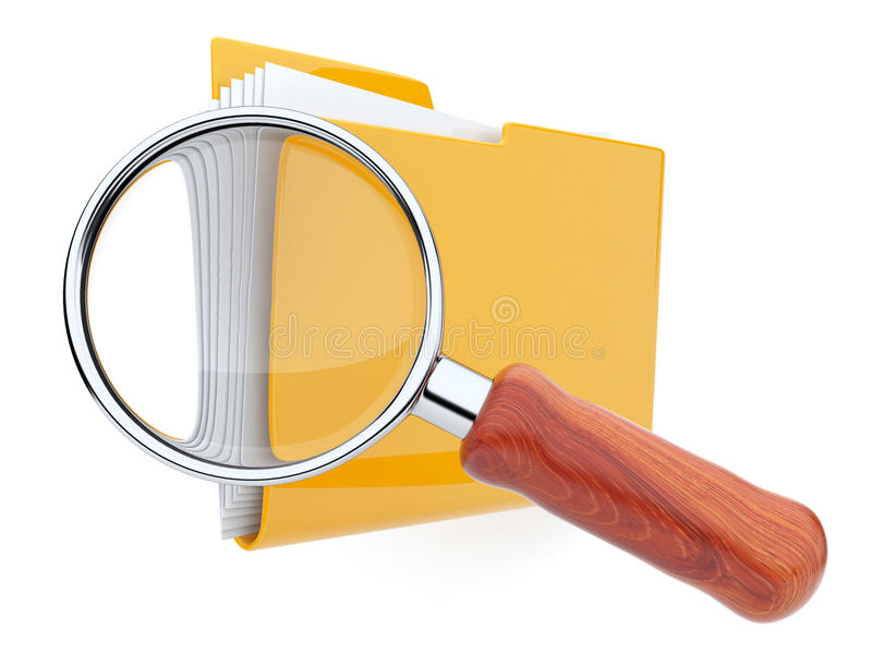 Faltblätter und Vergrößerungsglas. Dateirecherche. 3D stock abbildung