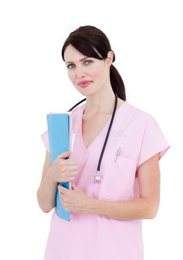 Faltblatt des überzeugten weiblichen Doktorholding-Patienten stockbilder