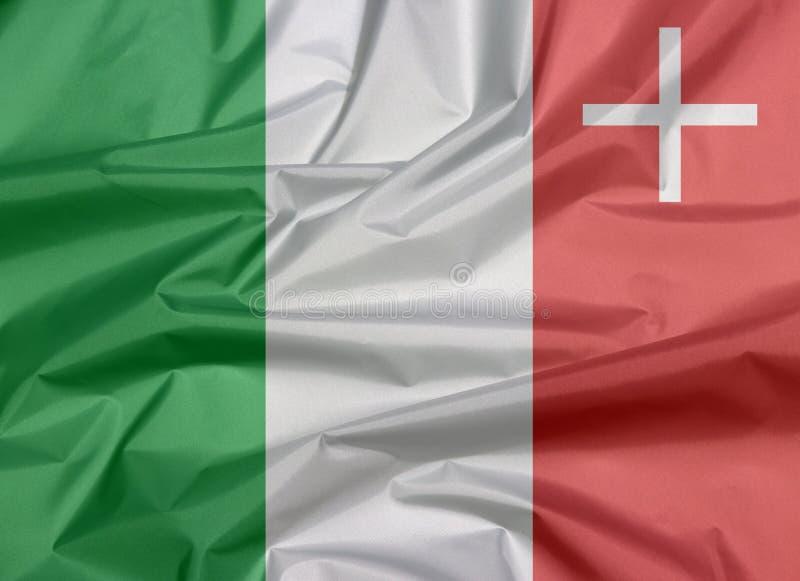 Falte des Neuchatel-Flaggenhintergrundes, der Bezirk von die Schweiz-Bündnis lizenzfreie stockfotos