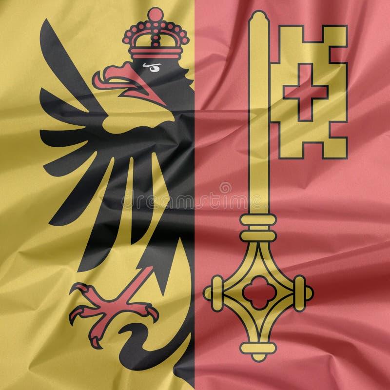 Falte von Genf-Wappen Flaggenhintergrund, der Bezirk von die Schweiz-Bündnis lizenzfreies stockfoto