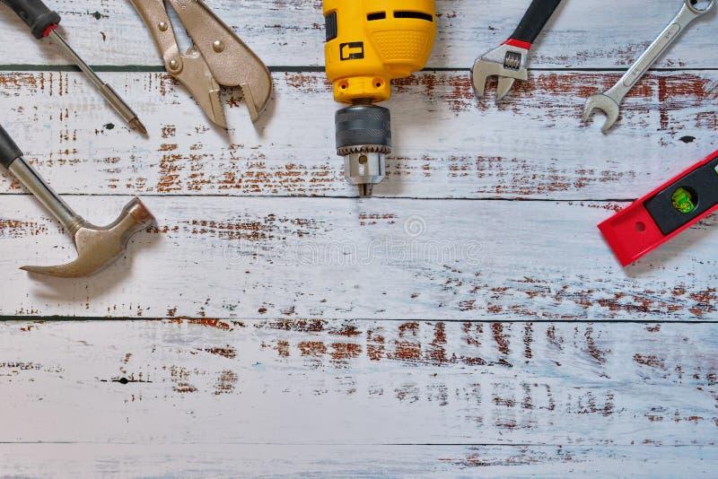 Faltlay, Baukonzeptsatz von Werkzeugversorgungen für Wohnungsbauerbauer oder -reparatur lizenzfreie stockbilder
