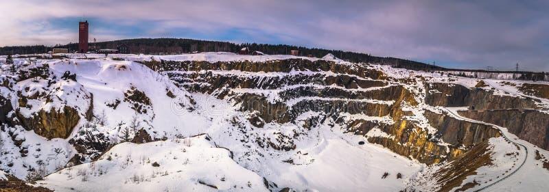 Falun - 30 de março de 2018: A mina de cobre a céu aberto de Falun, Suécia fotos de stock