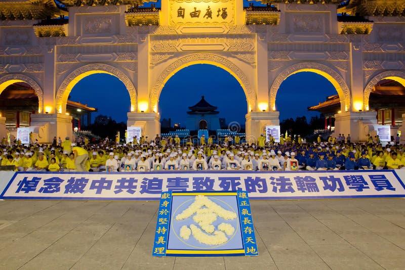 Falun Gongs-Kerzenmahnwache Taiwan stockbilder