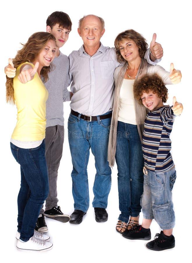 Família à moda do thumbs-up imagem de stock