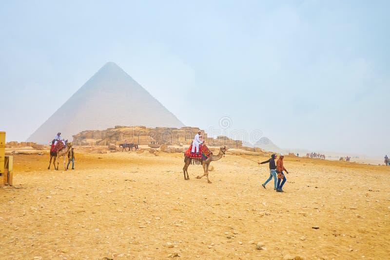 A família árabe que monta um camelo no complexo de Giza, Egito foto de stock royalty free