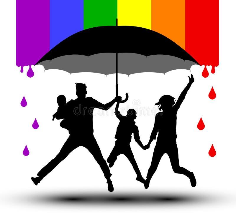 A família é protegida por um guarda-chuva, silhueta Propaganda, bandeira de LGBT ilustração stock
