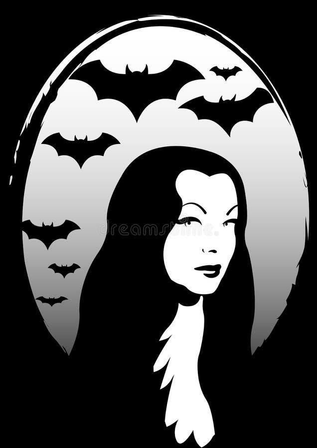 A família Addams, o Dia das Bruxas a mulher do horror, inspiração de Morticia, isolada ilustração do vetor
