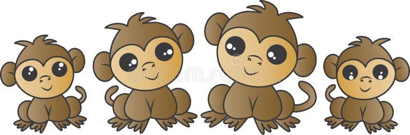 Família adorável do macaco ilustração do vetor