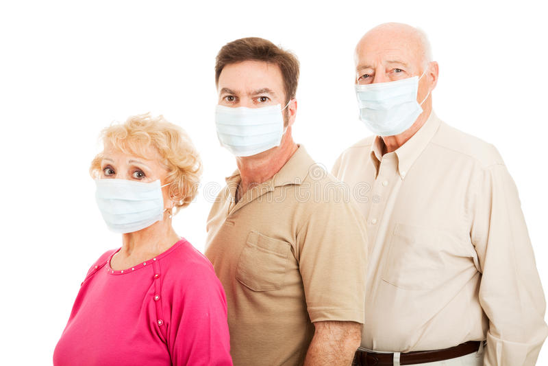 Família adulta - proteção da gripe fotos de stock royalty free