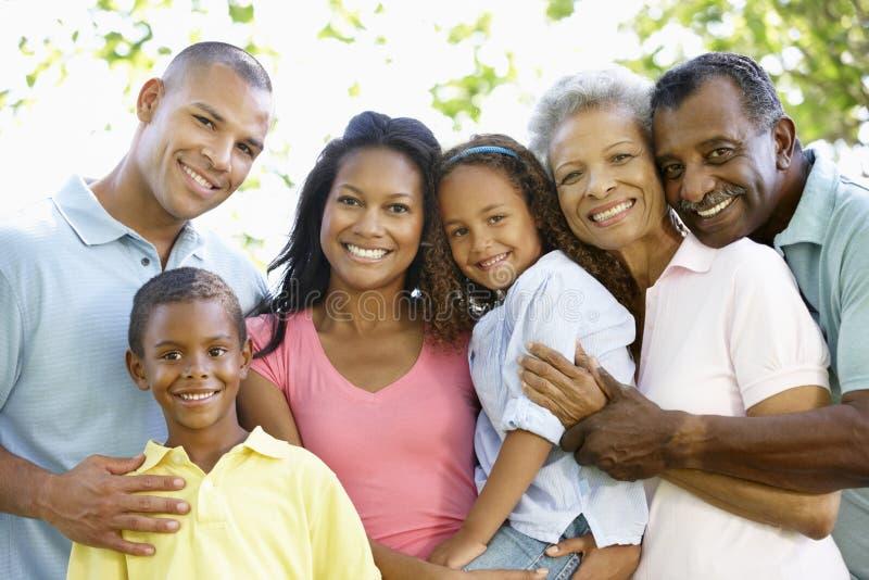 Família afro-americano da multi geração que anda no parque imagens de stock
