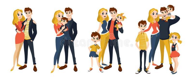 A família ajustou-se com mamã, paizinho, crianças ilustração royalty free