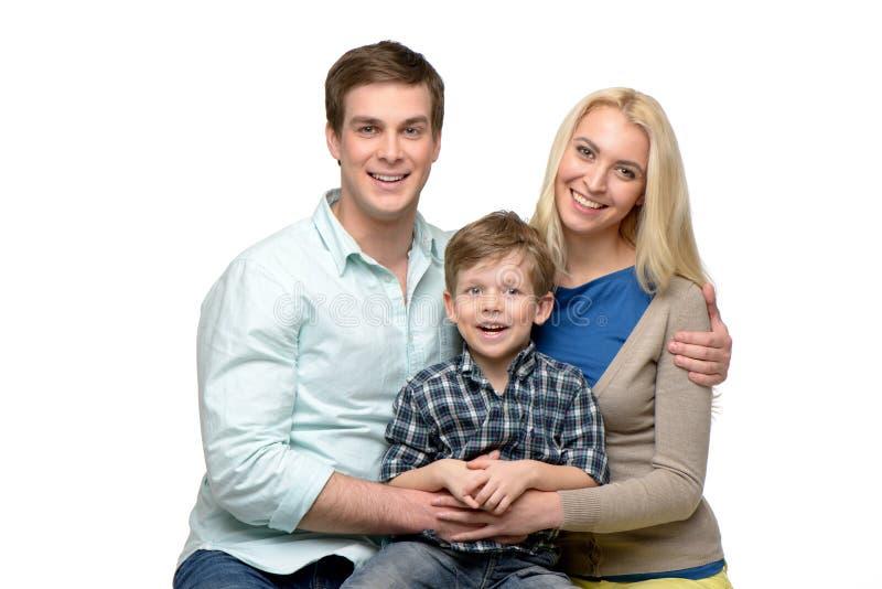 Família alegre do tempo três de apreciação junto foto de stock