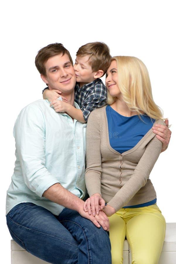 Família alegre do tempo três de apreciação junto fotos de stock
