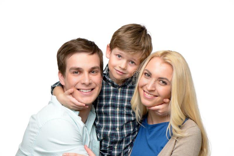Família alegre do tempo três de apreciação junto imagens de stock royalty free