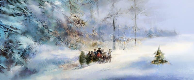 Família alegre que escolhe uma árvore de Natal da floresta do inverno ilustração royalty free