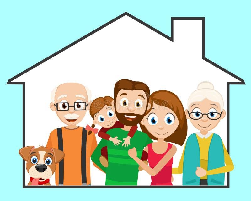 Família amigável feliz e um cão em sua casa ilustração stock