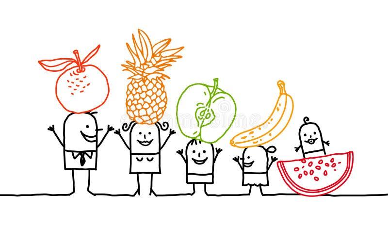Família & frutas imagem de stock