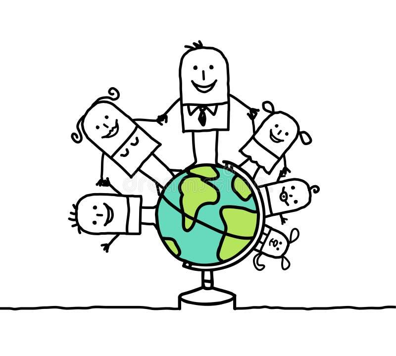 Família & mundo ilustração royalty free