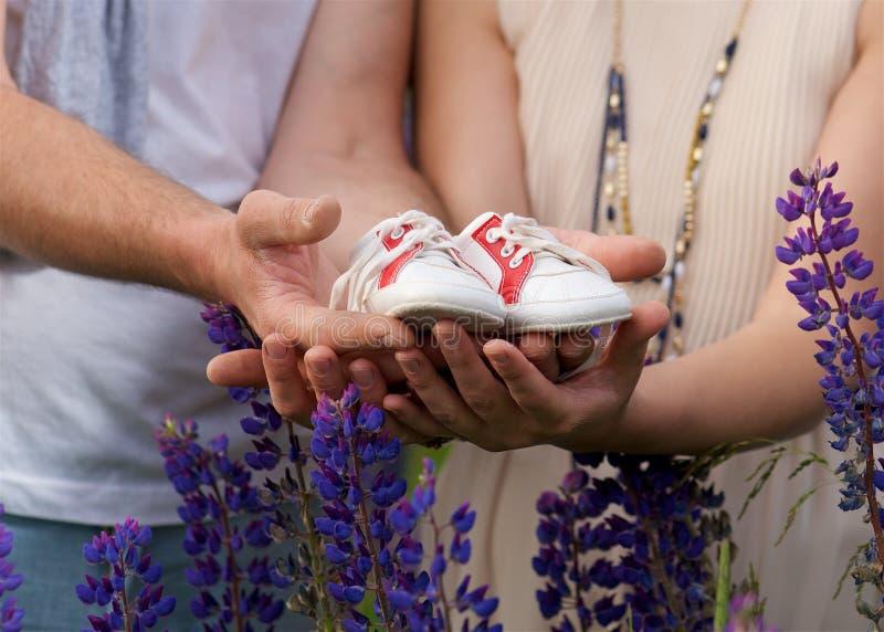 Família As mãos do pai da mãe com sapatas de bebê fecham-se acima Conceito da unidade, da sustentação, da proteção e da felicidad imagem de stock