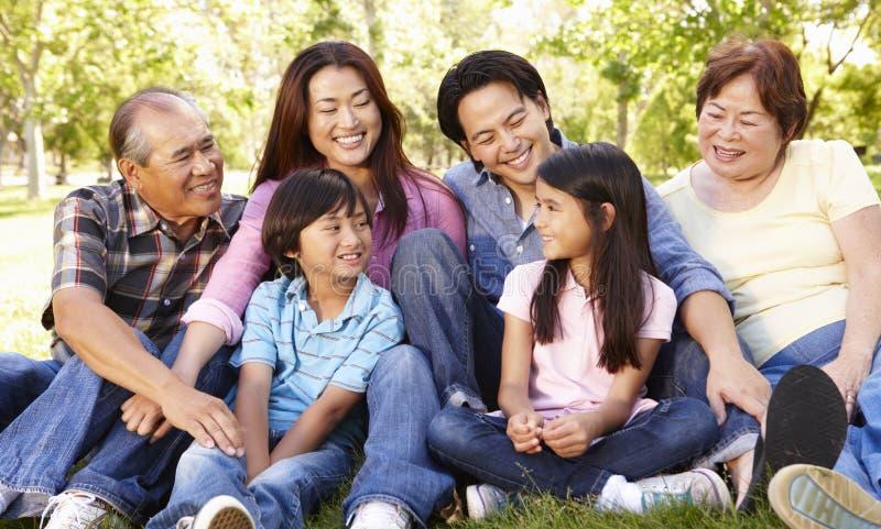 Família asiática da multi-geração do retrato no parque imagens de stock