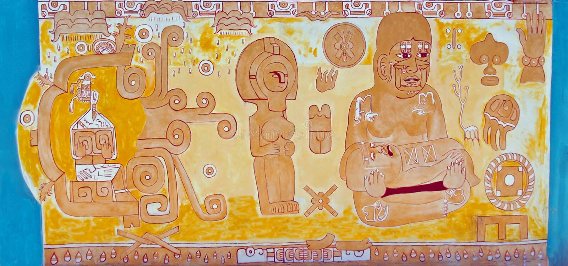 Fam?lia asteca/maia da descri??o mural & fertilidade fotografia de stock royalty free