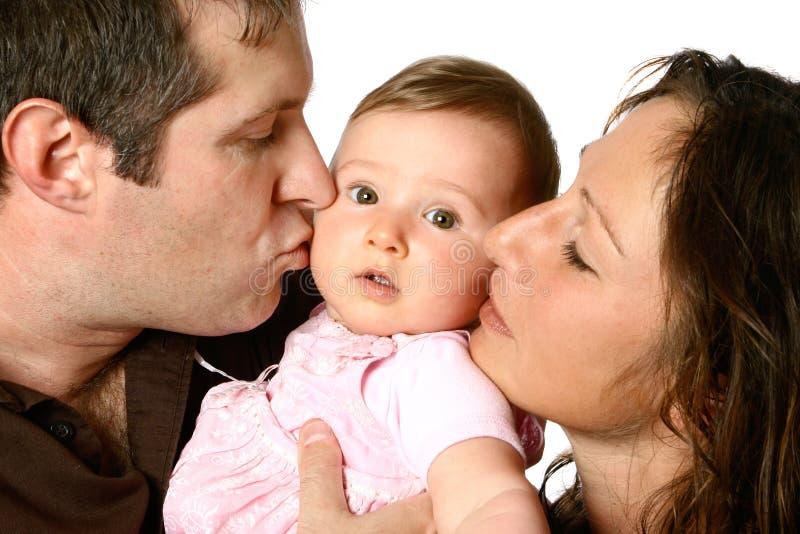 Família bonita com risadas fotografia de stock