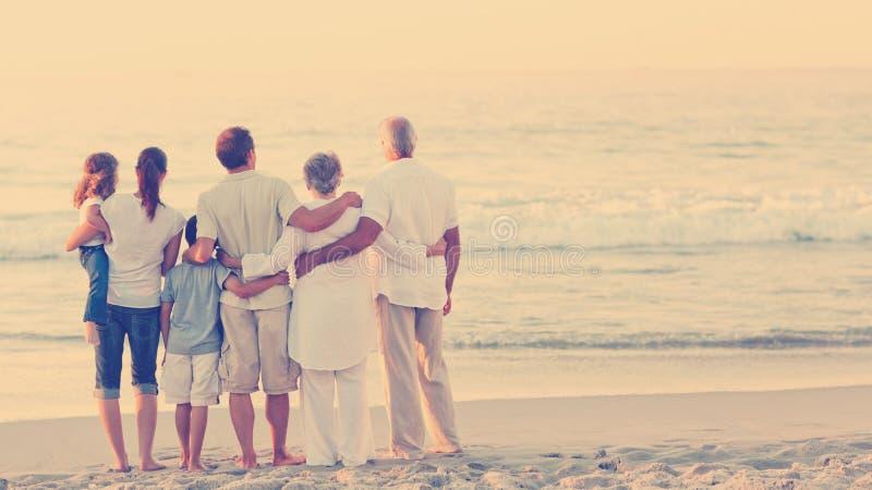 Família bonita na praia ilustração royalty free