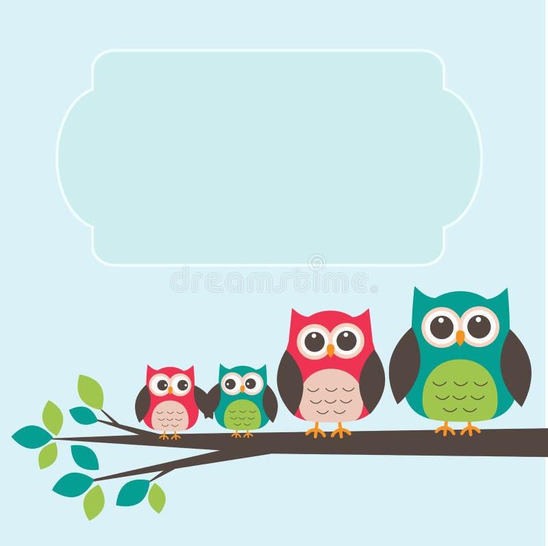 Família bonito da coruja com lugar para o texto ilustração stock