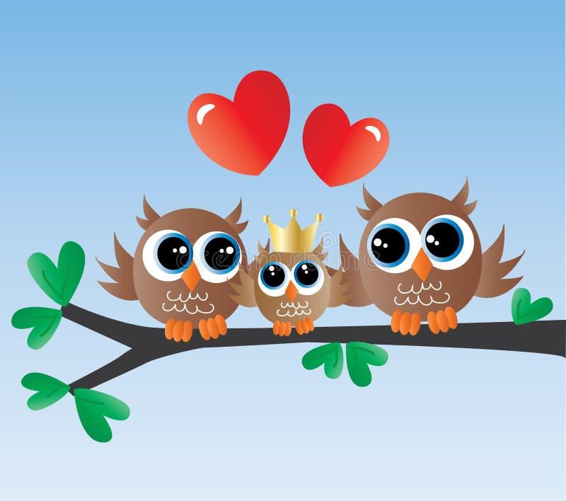 Família bonito da coruja do anúncio recém-nascido do bebê ilustração stock