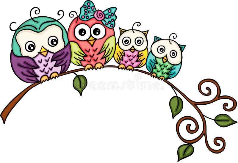 Família bonito da coruja em um ramo ilustração do vetor