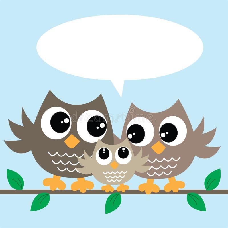 Família bonito da coruja pequena ilustração royalty free