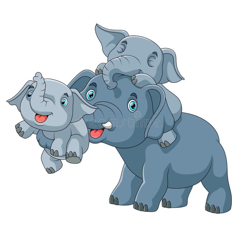 Família bonito dos desenhos animados do elefante que joga junto ilustração do vetor