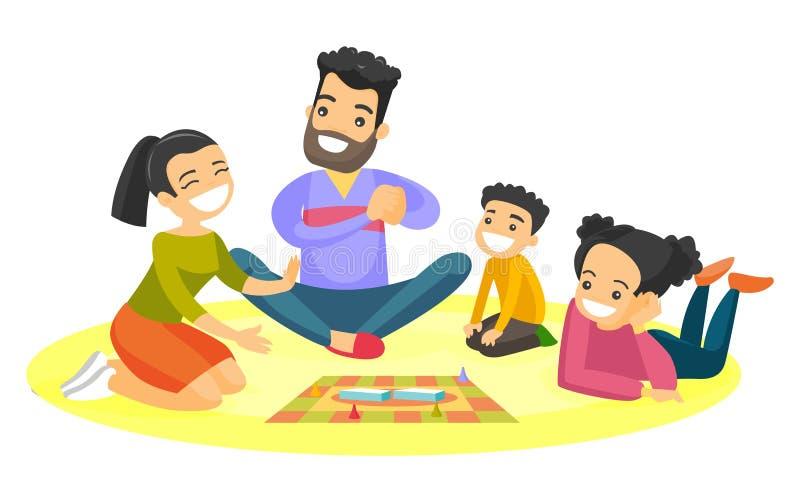 Família branca caucasiano nova que joga o jogo de mesa ilustração royalty free