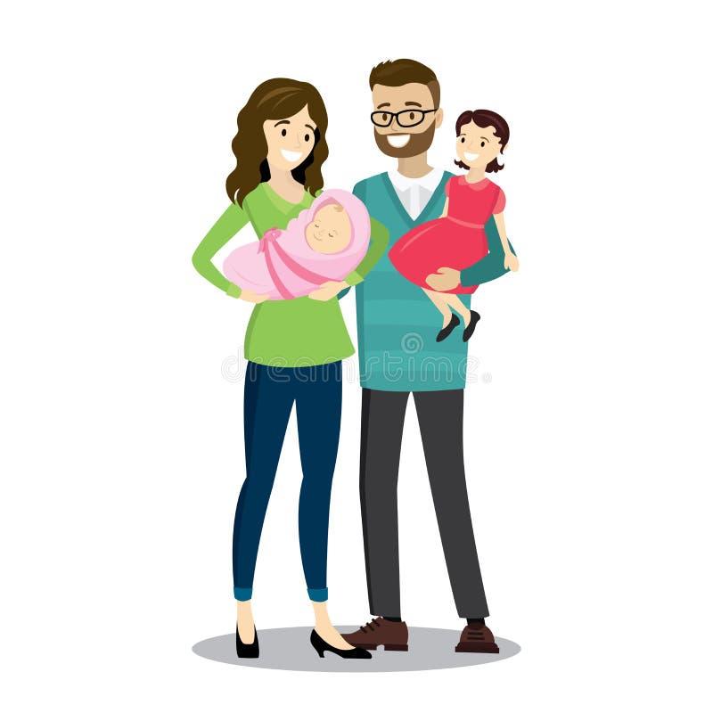 Família caucasiano feliz com bebê recém-nascido ilustração stock