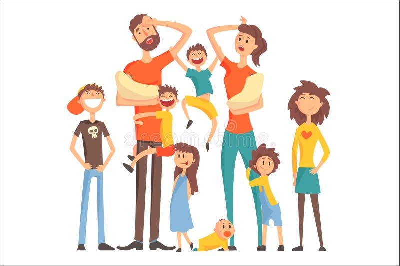 A família caucasiano feliz com o retrato de muitas crianças todas as crianças e bebês cansou a ilustração colorida dos pais ilustração stock