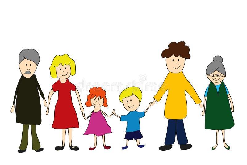 Família, childs que desenham o estilo ilustração do vetor