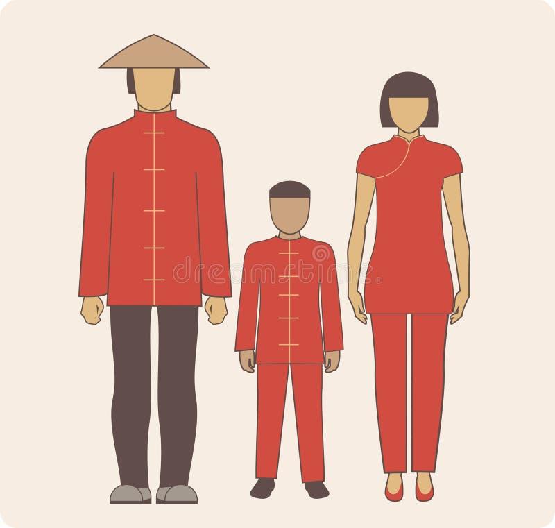 Família chinesa ilustração stock