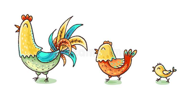 Família colorida da galinha dos desenhos animados, ilustração colorida do vetor ilustração stock