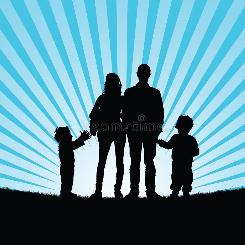 Família com as crianças felizes no illustrat da silhueta da natureza da beleza ilustração do vetor