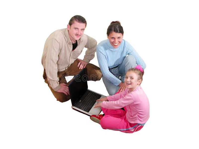 Família com computador foto de stock