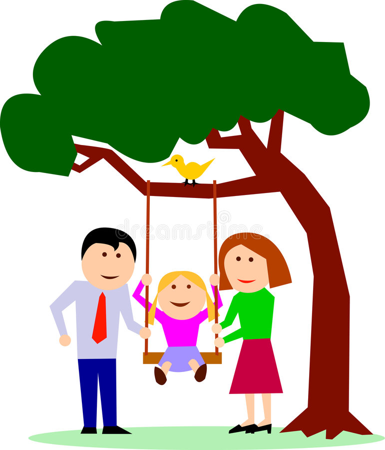 Família com a criança no balanço ilustração do vetor